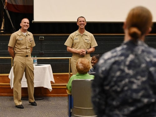 Master Chief Petty Officer of the Navy Steven Giordano, left, and Chief of Naval Operations Adm. John Richardson took sailor questions Wednesday on Facebook Live. (Petty Officer 1st Class Martin L. Carey/Navy)