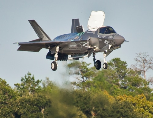 A Marine F-35B seems to hover over the runway as it descends toward the ground during the first short-takeoff-and-vertical-landing mission at Eglin Air Force Base, Fla. (Samuel King Jr./U.S. Air Force)