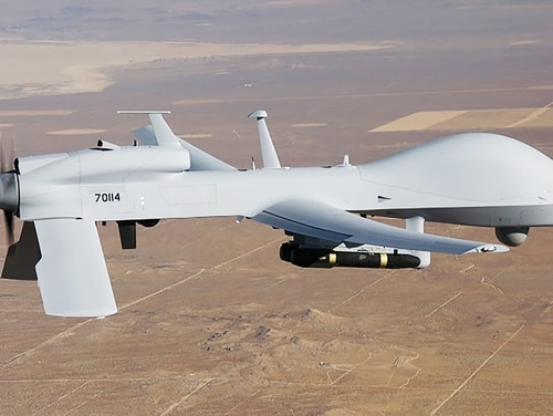 The U.S. Army demonstrated the ability to pass control around of a Gray Eagle drone like the one pictured here. (Courtesy of the U.S. Army)