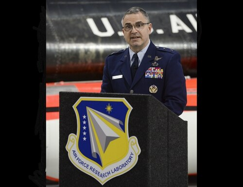 Maj. Gen. William Cooley, former commander of the Air Force Research Laboratory, delivers remarks at the National Museum of the United States Air Force at Wright-Patterson Air Force Base, Ohio, April 18, 2019. A charge of sexual assault has been preferred against Cooley following an investigation by the Office of Special Investigations. (Wesley Farnsworth/Air Force)