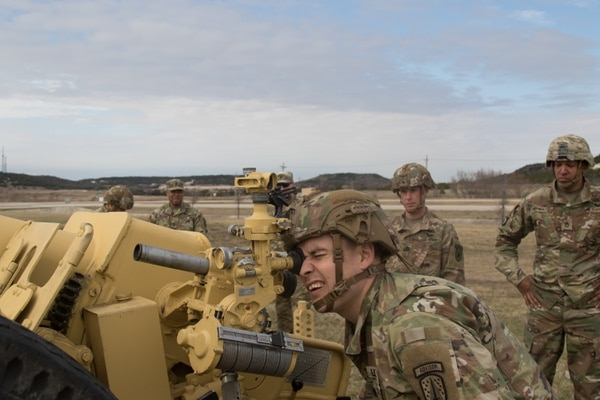 An artillery adviser with the 3rd SFAB trains at Fort Hood, Texas on Jan. 10, 2019. (Sgt. Andrew Mallet/Army)