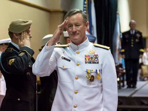Adm. William H. McRaven, commander of U.S. Special Operations Command, passes through ceremonial sideboys during his retirement ceremony on Aug. 28, 2014, in Tampa, Fla. (Chief Mass Communication Specialist Peter D. Lawlor/Navy)