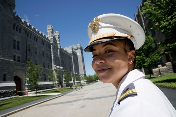 In this May 22, 2019, photo, Gabrielle Young, of Hopkins, S.C., poses at the U.S. Military Academy in West Point, N.Y. (Mark Lennihan/AP)