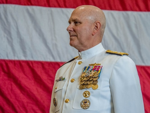 Adm. Chris Grady took command of U.S. Fleet Forces Command in a ceremony May 4, 2018, onboard the aircraft carrier George H.W. Bush in Norfolk, Va. (Mark D. Faram/Staff)