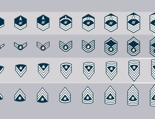 Chart of options for the Space Force rank insignia survey. (Courtesy of Air Force amn/nco/snco Facebook page).