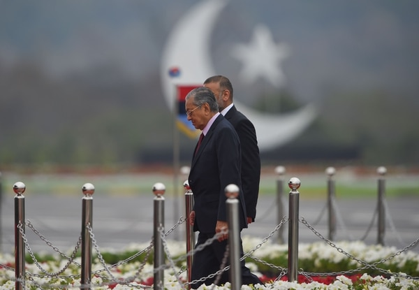 Malaysian Prime Minister Mahathir Mohamad arrives to attend the Pakistan Day parade in Islamabad on March 23, 2019. (Farooq Naeem/AFP via Getty Images)