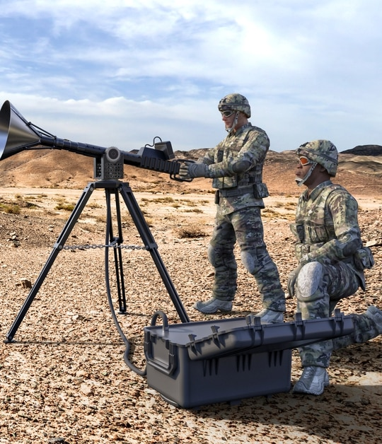 The TIGER, or Time Integrated Gigawatt Electromagnetic Response, is a counterdrone tool that uses high-powered microwaves to disrupt drones in flight. (Courtesy Leidos)