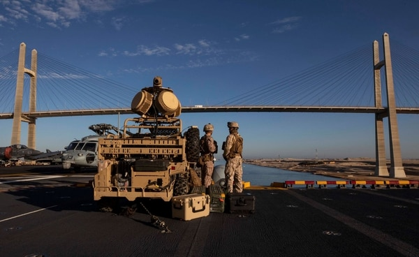 Marines with Low Altitude Air Defense Battalion, VMM-264 Black Knights (Reinforced) scan for potential threats while aboard the Wasp-class amphibious assault ship Kearsarge as it transits the Suez Canal Jan. 12. (Cpl. Aaron Henson/ Marine Corps)