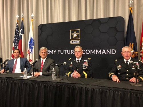 The Army stood up its new Futures Command in Austin, Texas, August 24, in a ceremony at its new headquarters. From left Army Secretary Mark Esper, Austin Mayor Steve Adler, Army Chief of Staff Gen. Mark Milley and Army Futures Command commander Gen. Mike Murray take questions from local and national press after the ceremony. (Photo by Jen Judson/Defense News staff)