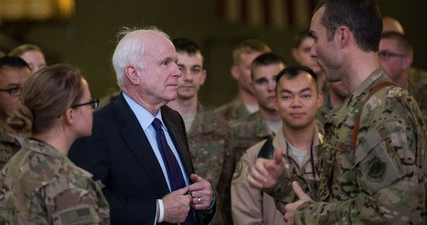 Sen. John McCain talks with Air Force Lt. Col. Karl Weinbrecht at Bagram Airfield, Afghanistan, on July 4, 2015. (1st Lt. Michael Mortellaro/U.S. Air Force)