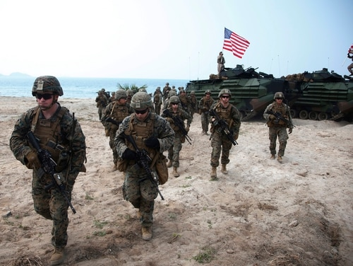 U.S. Marines join in an ongoing joint military exercise with Thai and South Korean troops in eastern Thailand on Feb. 17, 2018. The nominee to take over U.S. Forces Korea has said a pause in American military exercises with South Korean troops has hurt force readiness, but only slightly. (Sakchai Lalit/AP)