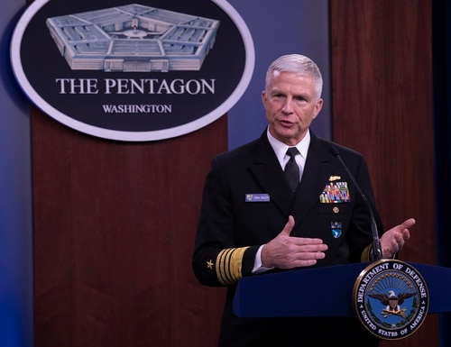 Adm. Craig S. Faller, commander of U.S. Southern Command, briefs members of the news media on the importance of USSOUTHCOM to the United States National Defense Strategy on March 11, 2020, at the Pentagon. (Marvin Lynchard/DoD)