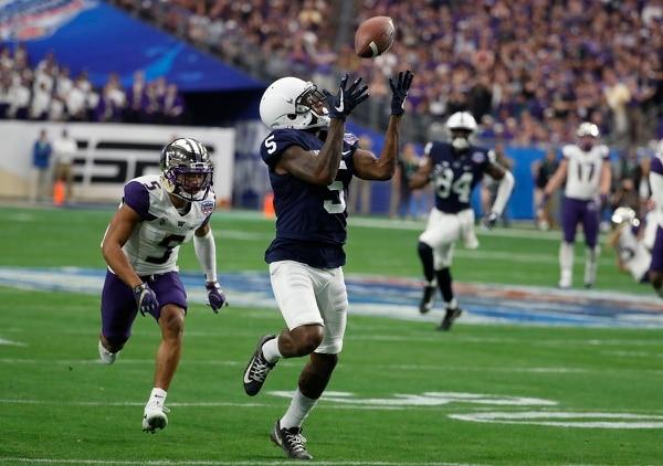 Penn State wide receiver DaeSean Hamilton (5) against Washington during the Fiesta Bowl NCAA college football game, Saturday, Dec. 30, 2017, in Glendale, Arizona. (Rick Scuteri/Associated Press)
