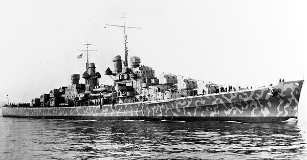 The USS Juneau sits in New York Harbor on Feb. 11, 1941. Less than two years later at the pivotal battle of Guadalcanal, a torpedo from Japanese destroyer Amatsukaze ripped into the port side of the American light cruiser, taking out its steering and guns and killing 19 men in the forward engine room. (Naval History and Heritage Command)