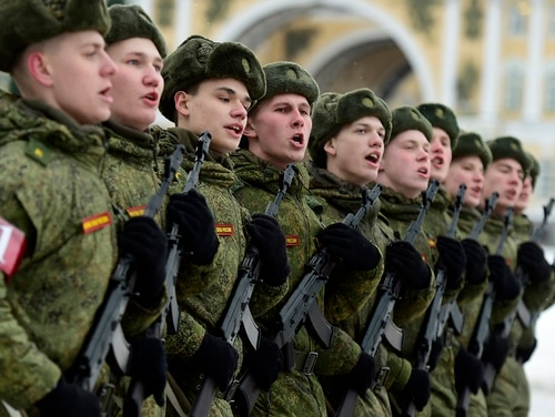 Russian military cadets rehearse for a military parade marking the 75th anniversary of the lifting of the Nazi siege of Leningrad, at Dvortsovaya Square in Saint Petersburg on Jan. 15, 2019. (Olga Maltseva/AFP via Getty Images)
