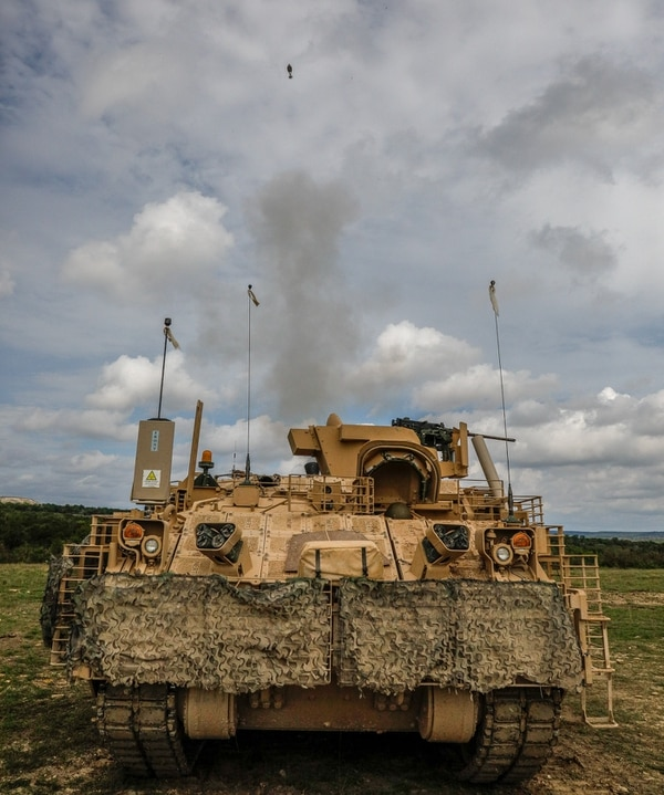 "Indirect fire infantrymen from 4th Squadron, 9th U.S. Cavalry Regiment ""Dark Horse,"" 2nd Armored Brigade Combat Team, 1st Cavalry Division, conduct mortar training in an Armored Multi-Purpose Vehicle at Fort Hood, Texas. (Maj. Carson Petry/Army)"