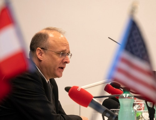 Marshall Billingslea, U.S. special presidential envoy for arms control, looks on during a news conference on June 23, 2020, in Vienna after the U.S. and Russia met for talks on their last remaining major nuclear weapons agreement. (Joe Klamar/AFP via Getty Images)