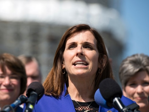Arizona Republican Sen. Martha McSally, a retired Air Force colonel and combat pilot, has called on Air Force leaders to hold an executive summit on the service's efforts to prevent and respond to sexual assault in the service. (Molly Riley/AP)