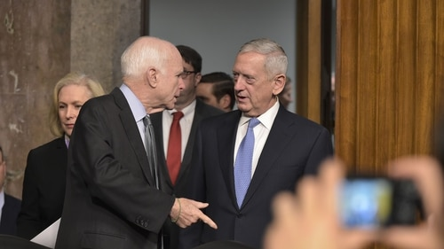 Simmering tension between Senate Armed Services Committee Chairman John McCain and the Trump administration's national security team over information sharing, the defense budget and Pentagon appointments boiled into public view last week. (Mandel Ngan/AFP/Getty Images)