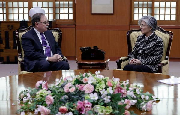 South Korean Foreign Minister Kang Kyung-wha, right, and Timothy Betts, acting deputy assistant secretary and senior adviser for security negotiations and agreements in the U.S. Department of State, talk during their meeting at Foreign Ministry in Seoul, South Korea, Sunday, Feb. 10, 2019. (Lee Jin-man/AP)
