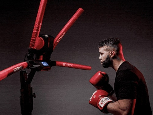 The RXT-1 or RefleX Trainer-1, was conceived, designed and built at home by former Army Special Forces Sgt. 1st Class Brent Verdialez after he sustained a wrist injury that prevent him from sparring. (STRYK)