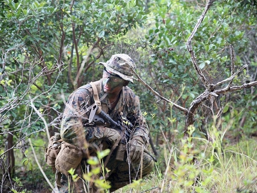 An infantry Marine from 3rd Battalion, 3rd Marine Regiment conducts patrols wearing a prototype tropical utility uniform Oct. 5, in Hawaii. M (Monique Randolph)