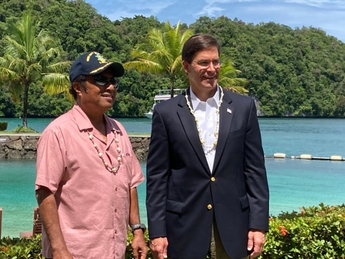 Defense Secretary Mark Esper meets with Palau's President Thomas Remengesau, left, on Aug. 27, 2020, in Koror, Palau for a U.S. defense secretary's first-ever visit to the country. (Meghann Myers/Staff)