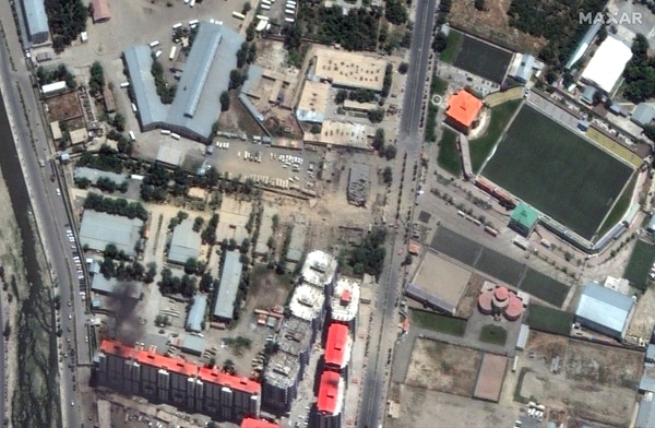 A satellite image shows the aftermath of a bombing in Kabul, Afghanistan, on July 1, 2019. The Taliban claimed responsibility for the blast. (Satellite image ©2019 Maxar Technologies)