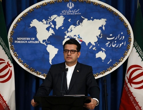 In this May 28, 2019, photo, Iran's Foreign Ministry spokesman Abbas Mousavi speaks at a media conference in Tehran, Iran. (Vahid Salemi/AP)