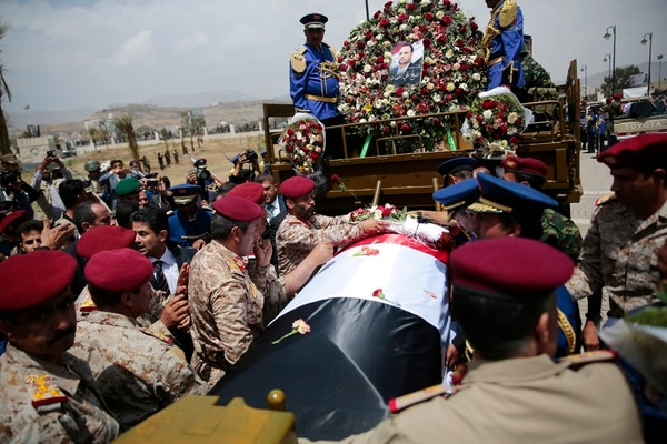 Houthi Shiite mourners attend the Aug. 28 funeral of Saleh al-Samad, a senior Houthi official who was killed by a Saudi-led coalition airstrike believed carried out by a Chinese drone in Sanaa, Yemen. (Hani Mohammed/AP)