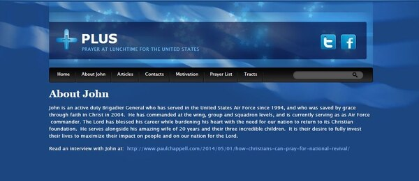 Air Force Brig. Gen. John Teichert was accused of using his military rank and status as an Air Force officer to promote his religion through a religious website, according to allegations by the MRFF this week. (Screenshot)
