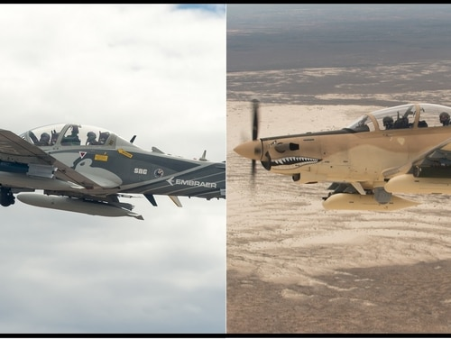 The Sierra Nevada Corp.-Embraer A-29 Super Tucano, left, and Textron AT-6B Wolverine are the likely contenders for the Air Force's light-attack aircraft competition. (Ethan Wagner/U.S. Air Force)