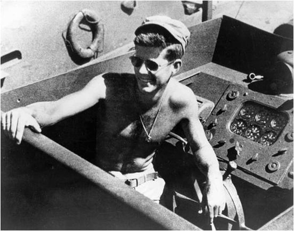 Lt.j.g. John F. Kennedy aboard the PT-109., 1943. (John F. Kennedy Presidential Library and Museum)