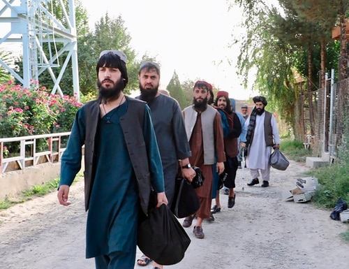 Taliban prisoners are released from Pul-e-Charkhi jail in Kabul, Afghanistan, Thursday, Aug. 13, 2020. (Afghanistan's National Security Council via AP)