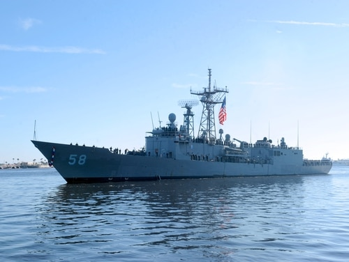 he frigate USS Samuel B. Roberts arrives at Naval Station Mayport in 2014 after completing a six-month deployment in the U.S. Africa Command area of responsibility. The Roberts, which decommissioned in 2015 after surviving a mine strike in 1988, was one of the last frigates in the fleet. (MC1 Michael Wiss)