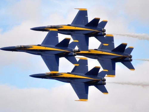 The Navy's flight demonstration team, the Blue Angels, have reported a Tuesday landing mishap at the winter training grounds at Naval Air Facility El Centro. (Gregory Mitchell/Navy)