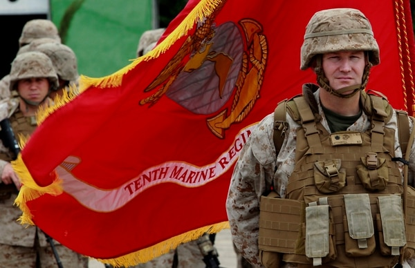 U.S. Marines attend an opening ceremony for the Agile Spirit 2015 military exercises at the Vaziani base, outside Tbilisi, Georgia, Wednesday, July 8, 2015. The two-week-long exercises, which began Wednesday at the Vaziani base, are to focus on peacekeeping and support activities. About 220 U.S. troops are taking part, while platoon-level contingents from Lithuania, Latvia, Romania and Bulgaria are present. (AP Photo/Shakh Aivazov)