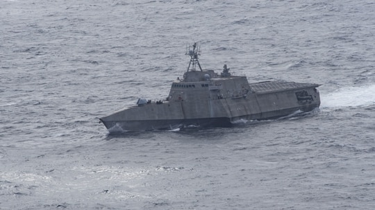 The littoral combat ship Montgomery conducted a freedom of navigation operation, or FONOP, near contested South China Sea islands on Sunday, officials said. (Navy)