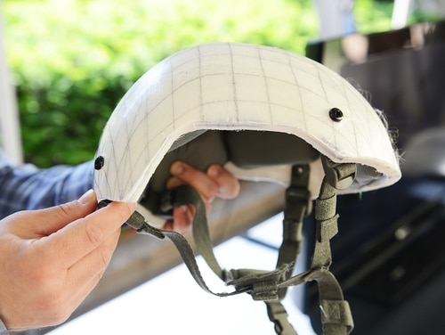 Representatives of the U.S. Army Natick Soldier Research, Development and Engineering Center, out of Natick, Mass., had an array of combat helmets on display at the Pentagon, May 24 and 25, as part of a