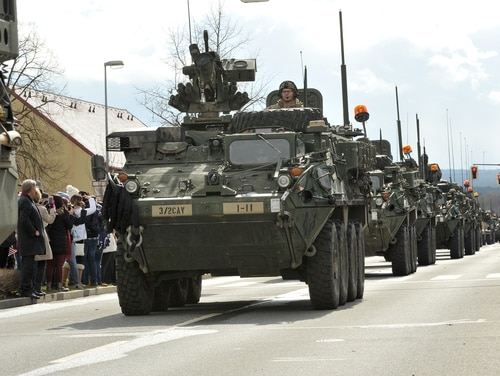 Soldiers with 3rd Squadron, 2nd Cavalry Regiment parade through Rose Barracks, April 1, 2015. (Markus Rauchenberger/Army)