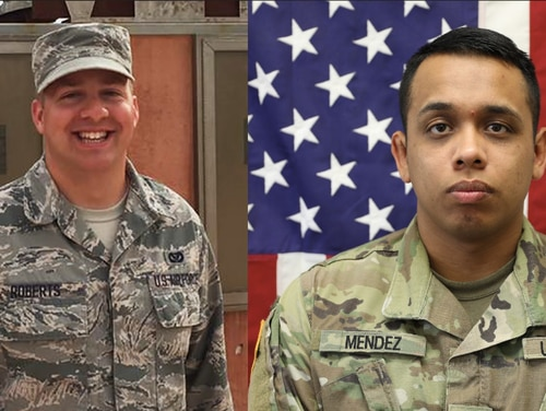 Air Force Staff Sgt. Marshal Roberts and Army Spc. Juan Miguel Mendez Covarrubias were killed in a rocket attack on Camp Taji, Iraq.