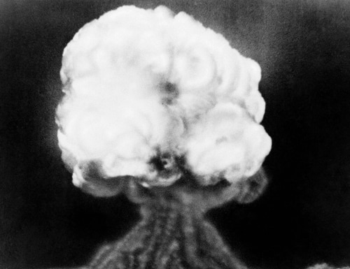 This July 16, 1945, photo, shows the mushroom cloud of the first atomic explosion at Trinity Test Site, New Mexico. (AP)