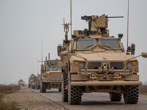 A coalition convoy stops to test fire M2 machine guns and an MK19 grenade launcher in the Middle Euphrates River Valley in the Deir ez-Zor province, Syria, Nov. 22, 2018. (Sgt. Matthew Crane/Army)