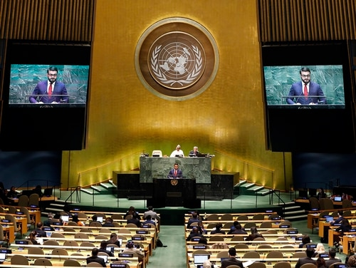 Afghanistan's National Security Adviser Hamdullah Mohib addresses the 74th session of the United Nations General Assembly, Monday, Sept. 30, 2019. (Richard Drew/AP)