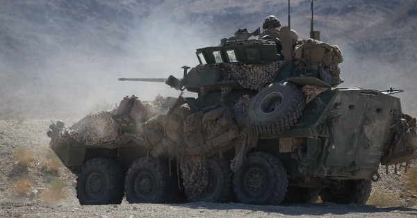 U.S. Marines with 3rd Light Armored Reconnaissance Battalion, 1st Marine Division, provide security during a Marine Corps Combat Readiness Evaluation at Marine Corps Air Ground Combat Center Twentynine Palms, California, Sept. 23, 2017. (Lance Cpl. Ana S. Madrigal/Marine Corps)