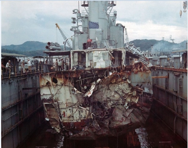 The Allen M. Sumner-class destroyer Frank E. Evans (DD-754) shown here in the auxiliary repair drydock Windsor at Subic Bay, 6 June 1969. Evans collided with the Australian aircraft carrier Melbourne on 3 June 1969. (PN2 Ralph Treser. PAO CINCPAC Det-WESPAC, now in the collections of U.S. Naval History and Heritage Command)