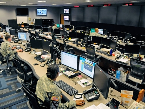 Soldiers work inside the Cyber Operations Center on Fort Gordon, Georgia. (Army)