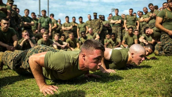 Marines competes in a push-up challenge. A survey going out to hundreds of thousands of troops will ask them about their fitness and exercise habits, among other things. (Cpl. Stephen D. Himes/Marine Corps)