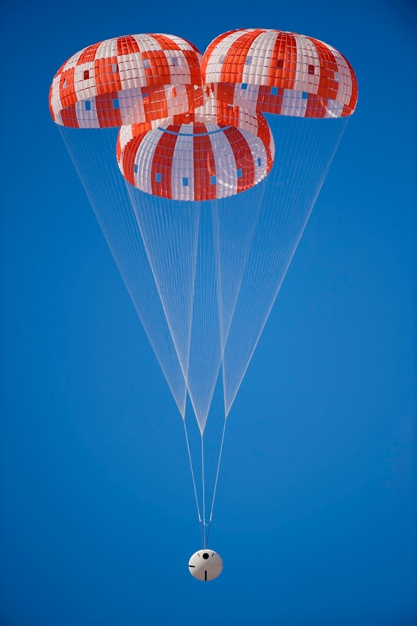 Engineers successfully tested the parachutes for NASA's Orion spacecraft at the U.S. Army Yuma Proving Ground in Arizona on March 8, 2017. This was the second test in a series of eight that will certify Orion's parachutes for human spaceflight. (NASA)