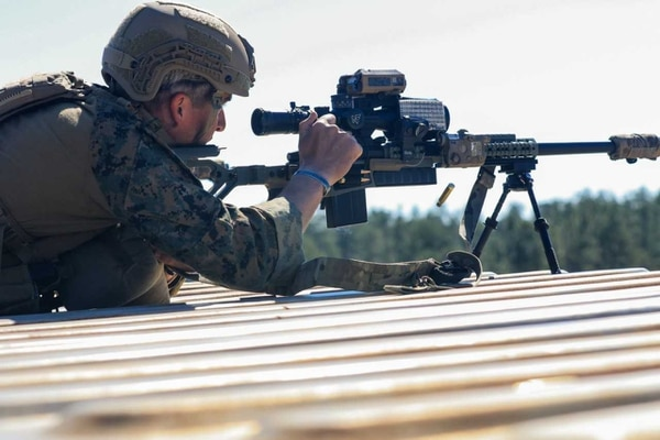 A shooter in the U.S. Army Special Operations Command International Sniper Competition takes aim during an event at Fort Bragg, North Carolina. (Army)